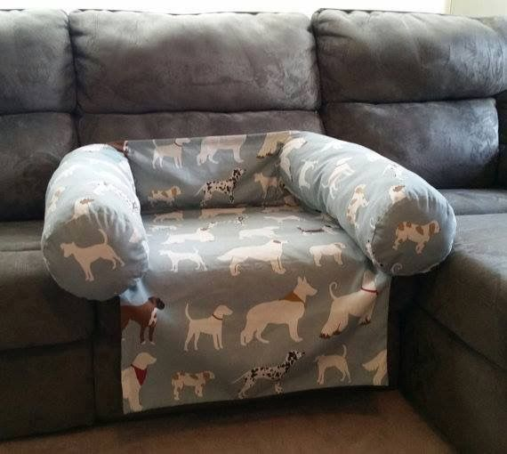 DIY dog couch cover. For more posts about dogs, visit https://getcourse.com.au/courses-for-dog-owners/