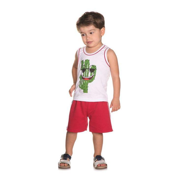 Conjunto Infantil de Verão para Menino Modelo Regata Cactos