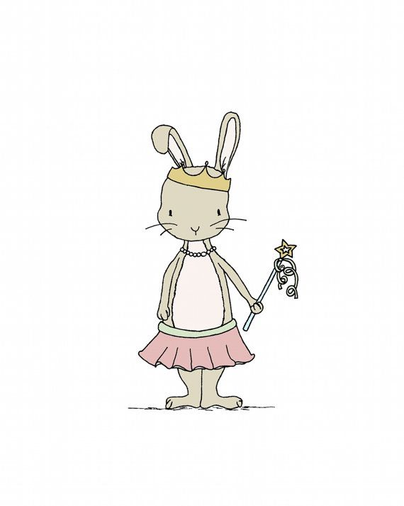 Girl Nursery Art Princess Cottontail Bunny by SweetMelodyDesigns, $10.00