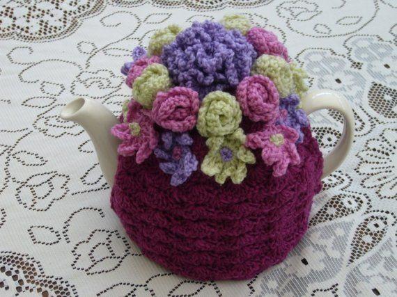 46 Cup Crochet Tea Cosy/Cosie/Cozy Plum by andrealesleycrochet, £19.00