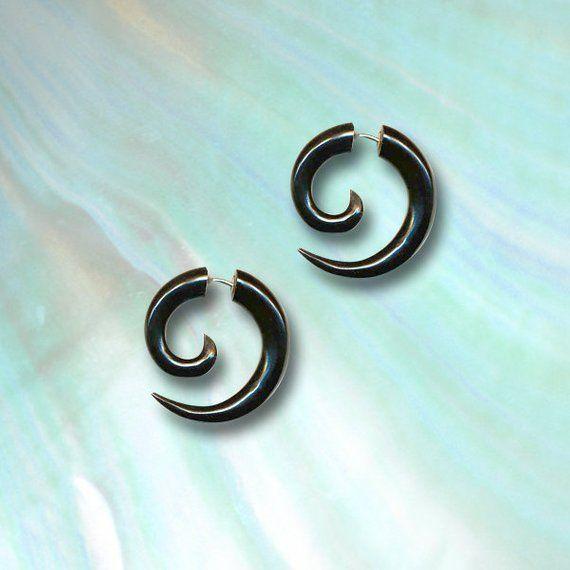 Price Per 1 SILVER Spiral Plug Horn Organic Ear Jewelry