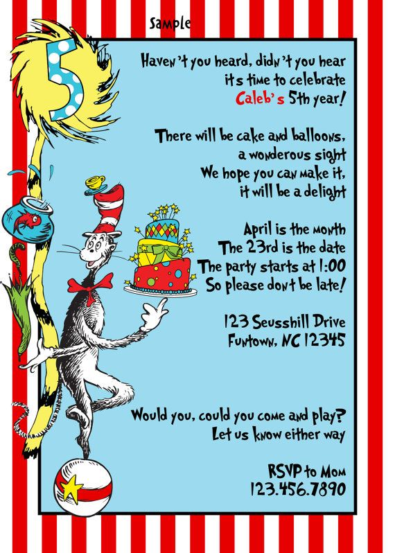 75 best seuss 1st birthday party stuff images on pinterest | party, Party invitations