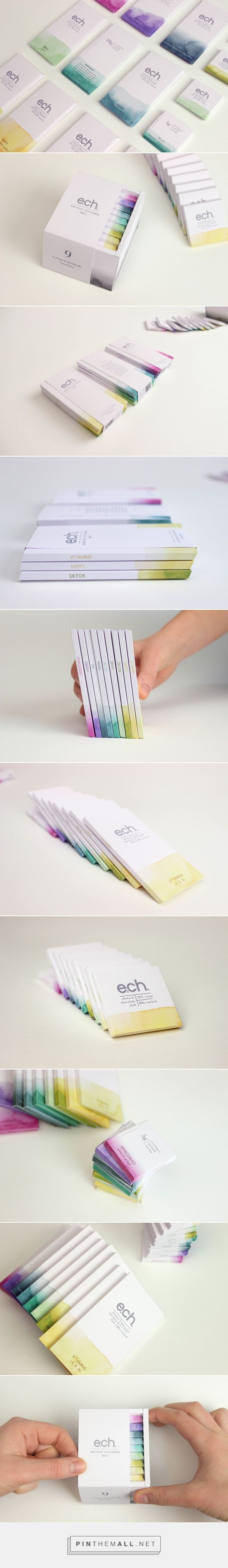 ELEMENT / chocolate packaging designed by Evelina Kudabaitė. LOVE this etherial watercolor product design. I could see this as business cards as well. #branding