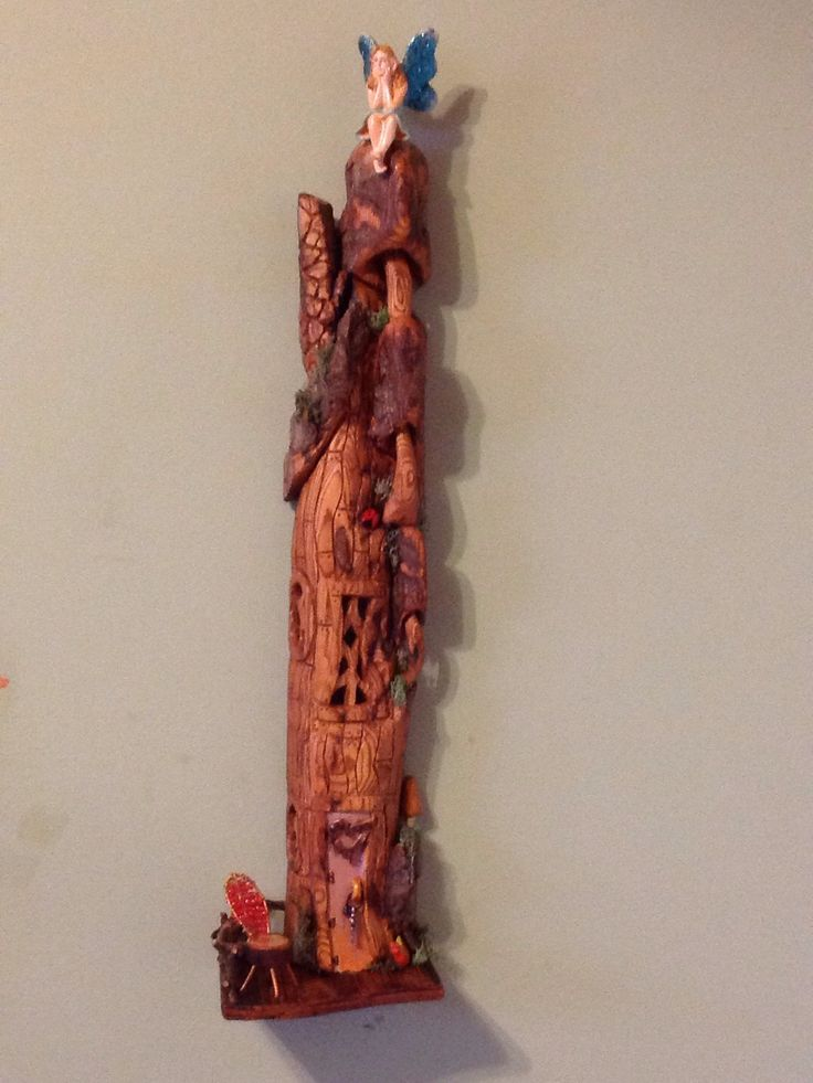Fairy house made with cotton wood bark