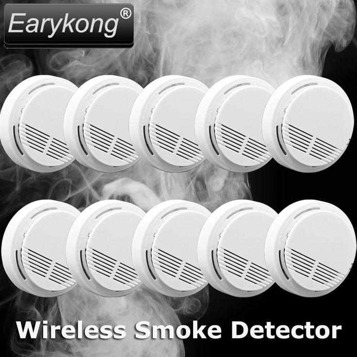 Freies verschiffen 2016 Nutzung feuer wireless Home Einbrecher Alarm FÜR GSM alarm system NEUE White10pcs funk-rauchmelder