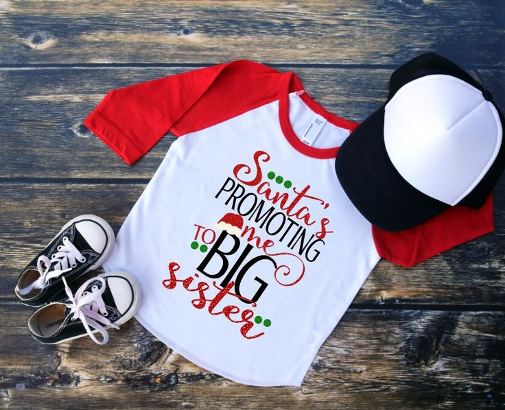 "Toddler Girls Youth Red Sleeve Raglan Baseball Tee ""Santa's Promoting me to BIG SISTER"" Christmas Holiday Birth Announcement Sibling Shirt by TheHotPolkaDot on Etsy https://www.etsy.com/listing/469173106/toddler-girls-youth-red-sleeve-raglan"