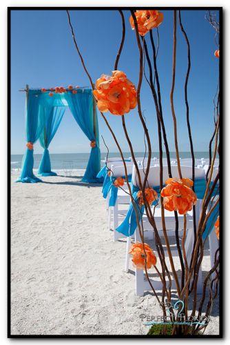 Blue & orange color scheme - Florida Beach Wedding - Citrus Décor