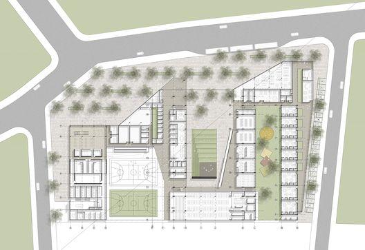 Cuarto Lugar Concurso Para el Diseño de Colegios y un Equipamiento Cultural – Teatro, en Bogotá / Colombia,Planta Primer Piso