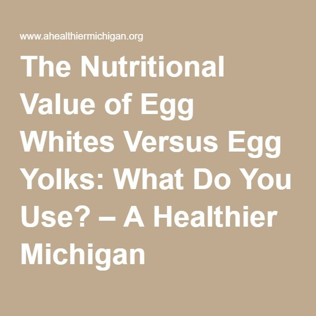 The Nutritional Value of Egg Whites Versus Egg Yolks: What Do You Use? – A Healthier Michigan