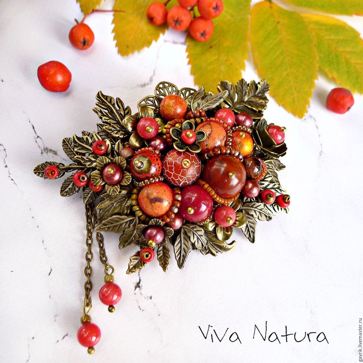 """Handmade Brooch """"Ashberry"""" with stones and seed beads - brooch, brooches, handmade brooch"""