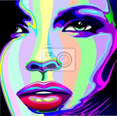 Naklejka Portret dziewczyny psychodeliczny tęczy Viso ragazza psychedelico