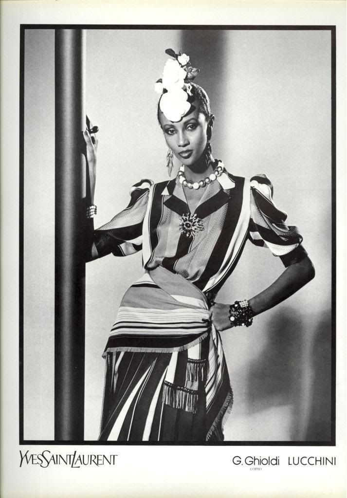 1980 - Yves Saint Laurent Couture adv - Iman by David Bailey