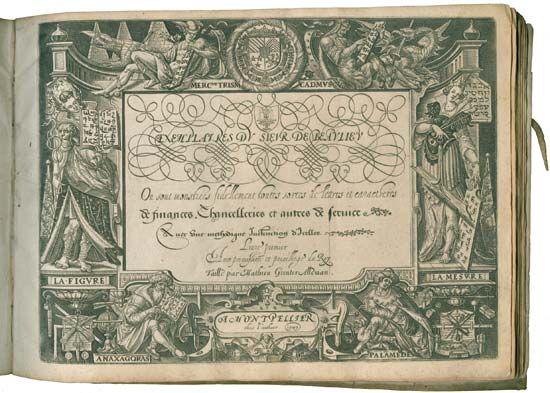 """Exemplaires du Sieur de Beaulieu (1599; """"Exemplars by the Lord of Beaulieu""""), a rare book of calligraphy exemplars."""