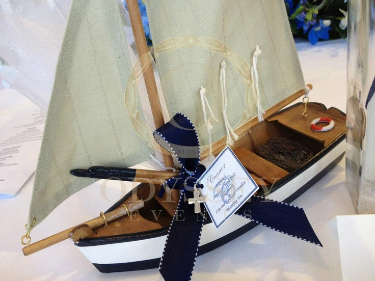 Wooden sail boat bonbonnaire (favour) for a nautical themed Christening, by Odyssey Events