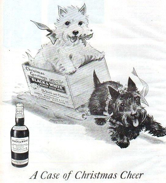 Black and White Scotch Whiskey Ad, Christmas 1945 | Color Re… | Flickr