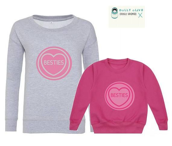 'Besties' love heart Sweaters, matching sweaters, mother daughter outfits, mother daughter jumpers, mother's day matching outfits, valentines day matching outfits
