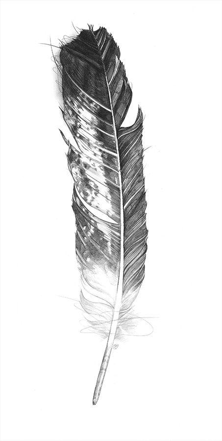 Black & White Eagle Feather Tattoo Design