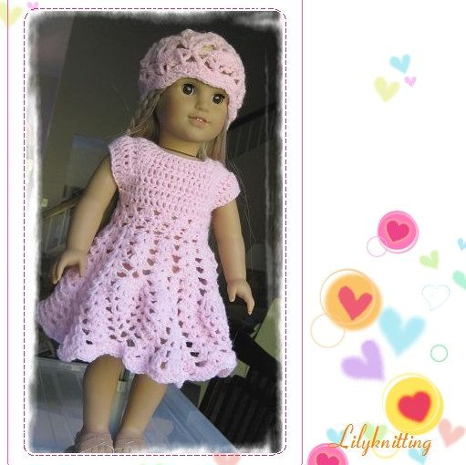 Crochet Dress Up Doll Pattern : doll dress american girl doll dress PATTERN Crocheted doll ...