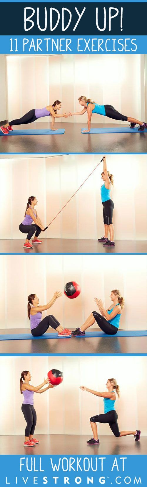 Buddy Up With These 11 Exercises You Can Do With a Partner! #fitness