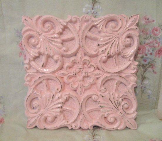Fabulous Shabby Pale Pink Fleur de Lis & Shells Wall Decor Plaque Very Detailed Shabby Distressed Carved Paris Victorian Cottage
