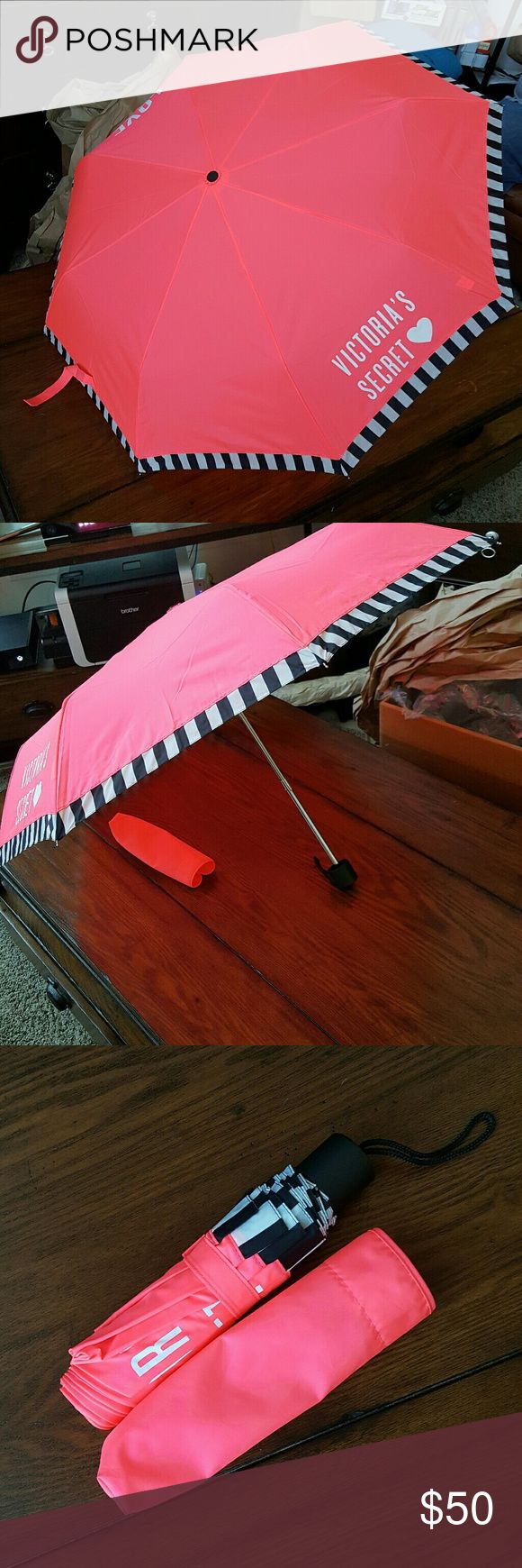 NWOT! Victoria's Secret Compact Umbrella New without tags, never used, excellemt condition!  Victoria's Secret Compact Umbrella.  Bright pink, white, black Victoria's Secret Accessories Umbrellas