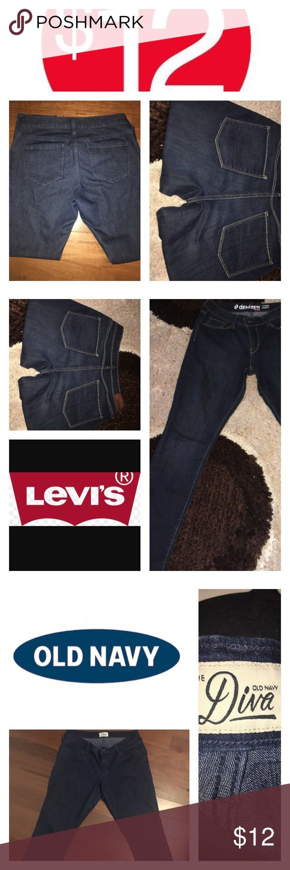 """🌷💝SALE: 2 for $12, oldnavy and levis jeans 2 for $12 old navy diva skinny jeans, and levis denizen modern skinny jeans bundle.                                  both size 10.                                   Great quality jeans                            *old navy jeans rise is 10 inches """"button to crotch"""" inseam is 29 in, cuff is 6 in.                                       *LEVIS jeans rise is 10 inches, inseam is 28 in, cuff is 6 in Levi's and Old Navy Jeans Ankle & Cropped"""