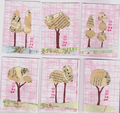 recycled tree atcs.  make one big one? or three to hang side-by-side?