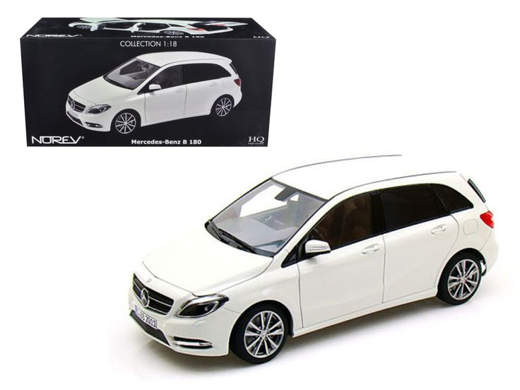 2011 Mercedes B 180 Class White 1/18 Diecast Model Car by Norev - Brand new 1:18 scale diecast car model of 2011 Mercedes B 180 Class White die cast car by Norev. Brand new box. Rubber tires. Has steerable wheels. Detailed interior, exterior. Has opening hood, doors and trunk. Made of diecast with some plastic parts. Dimensions approximately L-10, W-4, H-3.5 inches.-Weight: 4. Height: 8. Width: 15. Box Weight: 4. Box Width: 15. Box Height: 8. Box Depth: 7