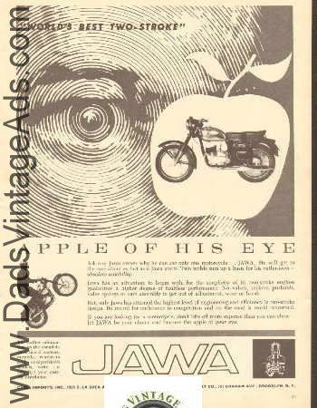 Ask any Jawa owner why he can see only one motorcycle... JAWA. He will get to the core about as fast as a Jawa starts. Two words sum up a basis for his enthusiasm - absolute reliability.   Original, Vintage Magazine Advertisement. Page Size: Approx. 8 x 10 3/4 (20 cm x 27 cm). Condition: Good    e6