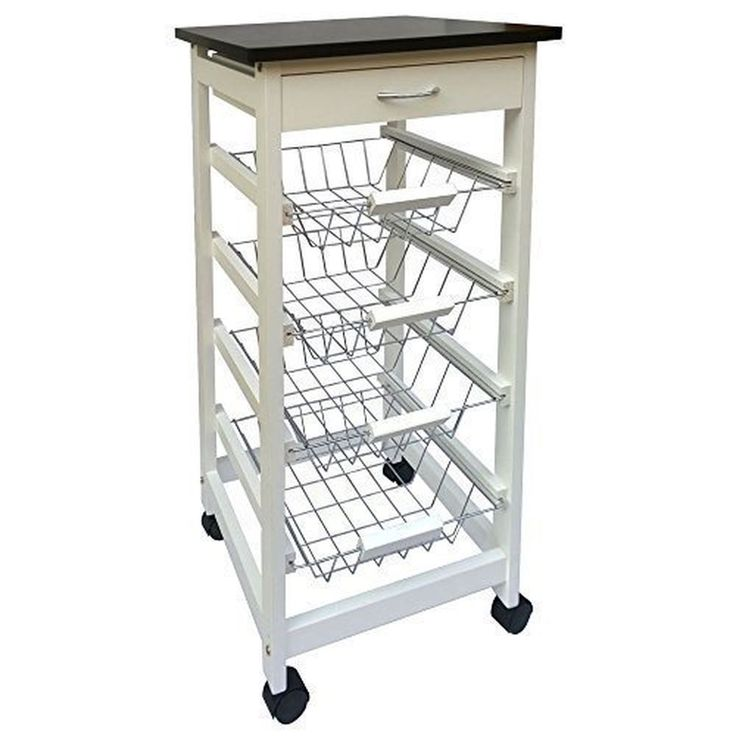 Kitchen Trolley Cart 4 Tier  Storage Baskets Drawer, White