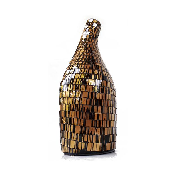 Arethusa Vase VAS007S - Glass Mosaic ( Gold on Black ) - Bottom Angle Elevation -Dimensions : Height - 34 cm ( Overall ) Bottom - Diam. 11 cm Top : Diam. 4 cm