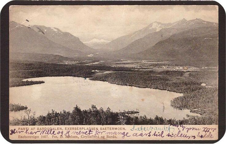 Bardodalen. (BARDU) Exserserpladsen Saetermoen. Utg Abelsen 1907