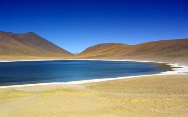 La Laguna Miniques nel deserto di Atacama in Cile