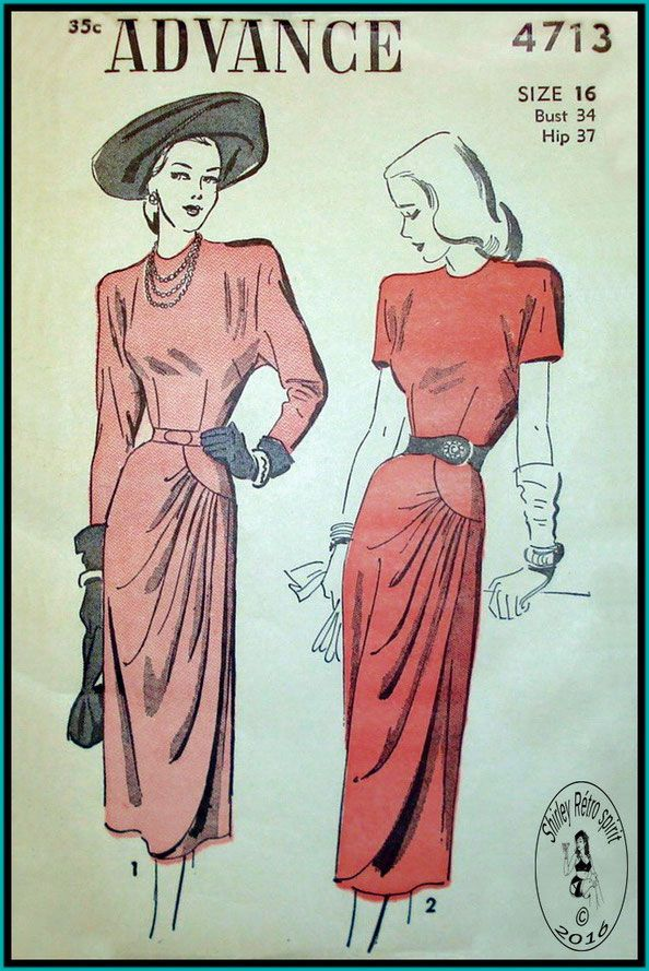 Vintage Sewing Patterns Advance 1940s Dresses Asymmetrical Slashed Curved Seams Gathers Draped Cascade Shaped Hemline Sheath Dart fitted Jewel Neck Kimono Sleeves Long Sleeves Gussets Short Sleeves Belts Cocktail