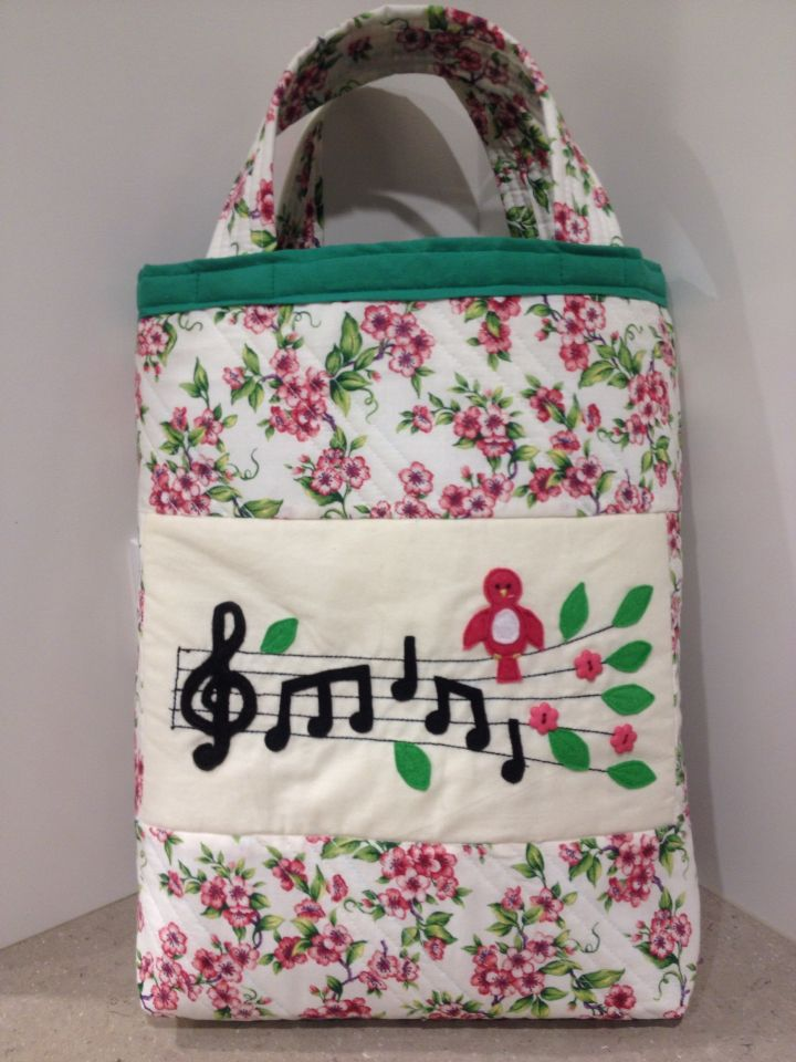 Fabric tote.  Song Bird