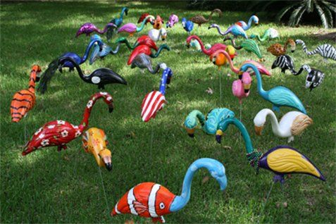 funky flamingos-This would be fun in the garden