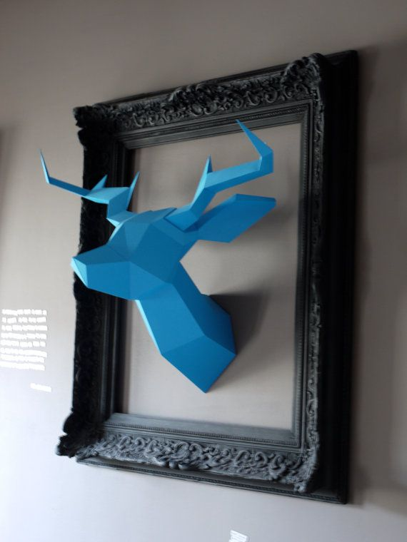 Teal Foldeer  Deer Head Papertoy by Foldeer on Etsy, €60.00