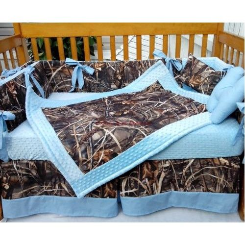 camo kids bedding | REAL TREE MAX 4 ADVANTAGE CAMOUFLAGE and BABY BLUE Crib Bedding Set