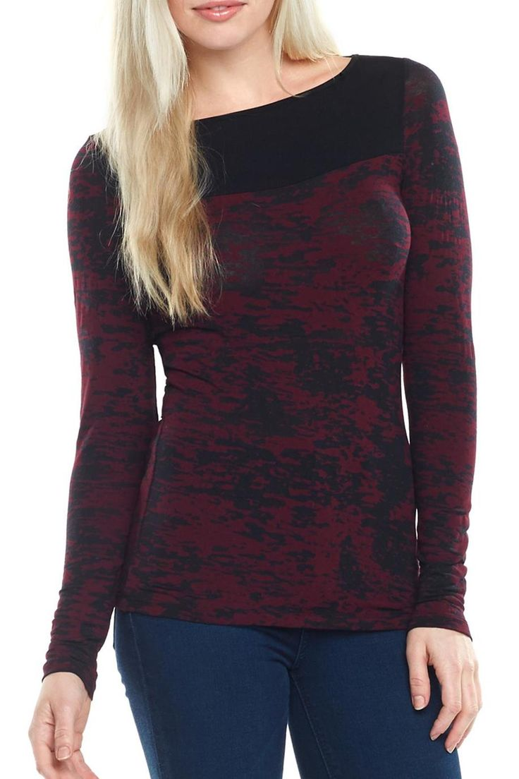 Burgundy and black burnout long sleeve tee with a mixed print. Cutouts in the back.    Burgundy Black Burnout Top by Tart Clothing. Clothing - Tops - Long Sleeve Montana
