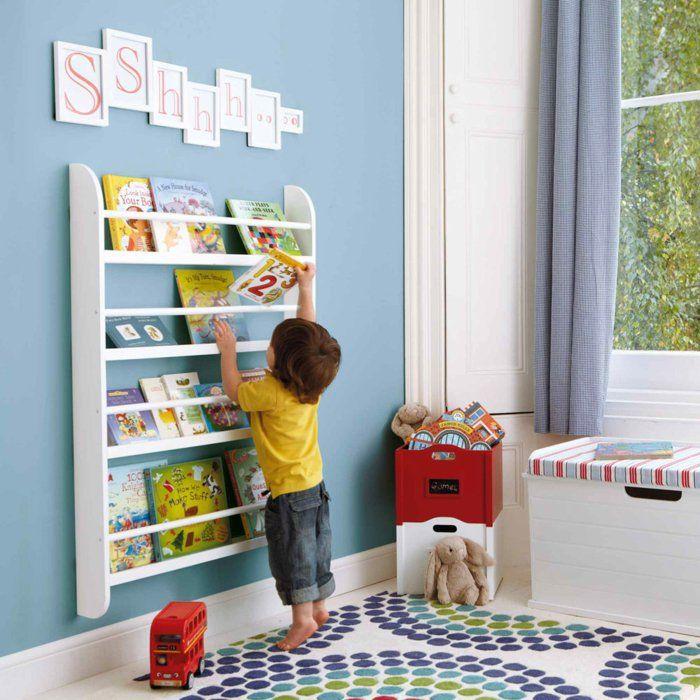 Bucherregal Kinderzimmer Weis artikelbeschreibung Stauraum Kinderzimmer Bcherregal Hellblaue Wand