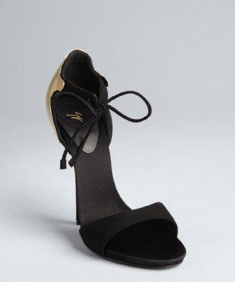 Giuseppe Zanotti black and gold suede open toe plaque heel pumps