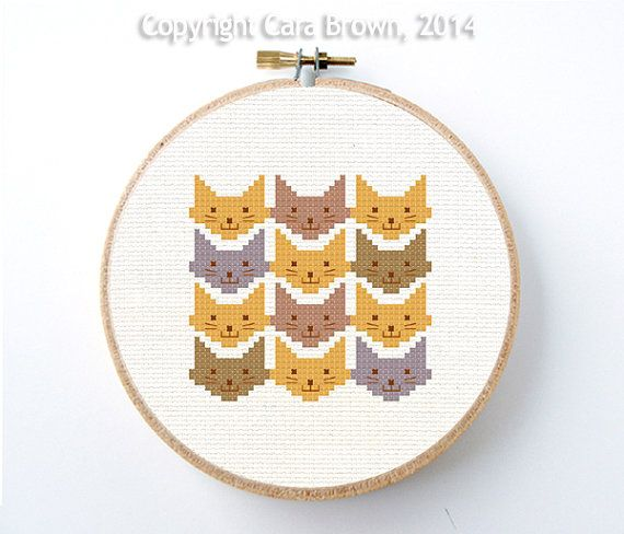 Cat Cross Stitch Pattern Chevron Design Instant Download Easy Modern Needlepoint Cute
