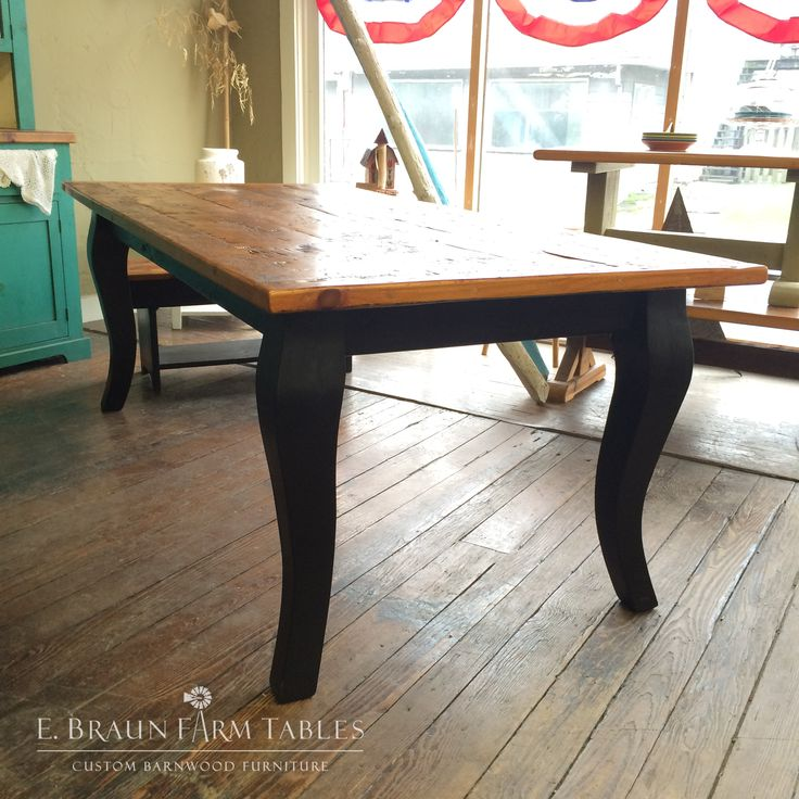 cabriole legs - reclaimed barn wood farm table gets an upscale look with  the addition of
