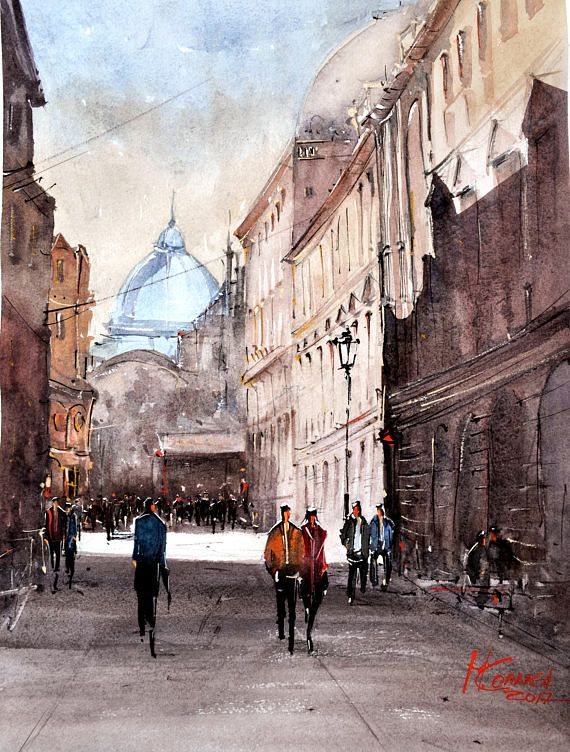 Stavropoleus Street Bucharest original watercolor 40x30 cm