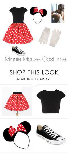"""Minnie Mouse Costume"" by pearcemaddie ❤ liked on Polyvore featuring Alice + Olivia, CO, Converse and Diesel"
