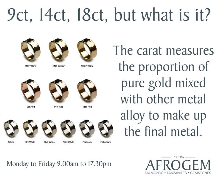 The gold carats commonly used in engagement and wedding rings are 9ct, 14ct and 18ct. The greater amount of pure gold used to manufacture the metal, the more valuable and expensive the metal will become.  The remainder of the metals are made up of a combination of alloys and different metals which can help to give the metal its unique appearance, such as a different colour.  Disclaimer : The chart is for illustration purposes only. We do not work with palladium or platinum.