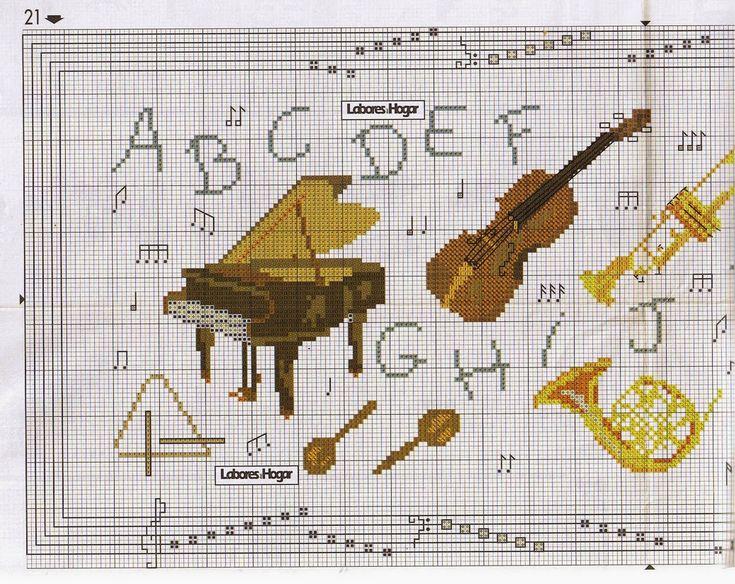 ♥Meus Gráficos De Ponto Cruz♥: Instrumentos Musicais em Ponto Cruz
