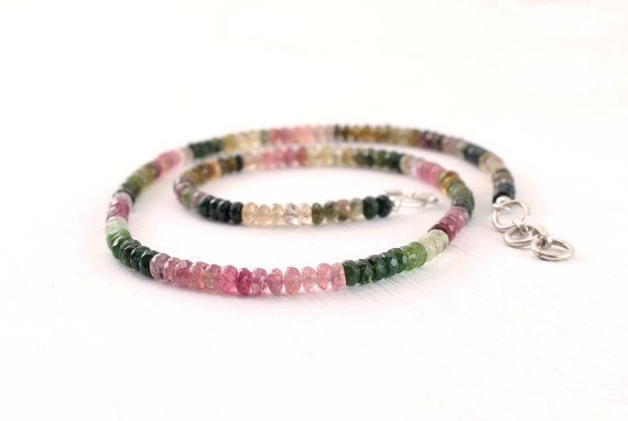 Watermelon tourmaline necklace in sterling silver Multi color necklace Ombre jewelry Gemstone bead necklace