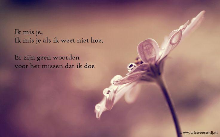 Ik mis je, Ik mis je als ik weet niet hoe. Er zijn geen woorden voor het missen dat ik doe.   www.wietroostmij.nl  www.sterrenhemel.nl