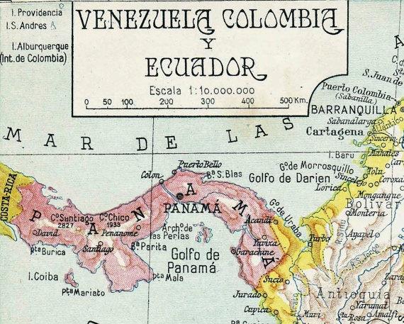 1942  Colombia Ecuador Venezuela Vintage Map by carambas onVenezuela Vintage, 1942 Colombia, Ecuador Venezuela, Colombia Ecuador, Vintage Wardrobe, Vintage Maps